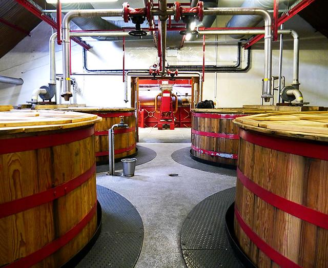 photo - Washback Tanks with Mash Tun at Back, Ardmore Distillery