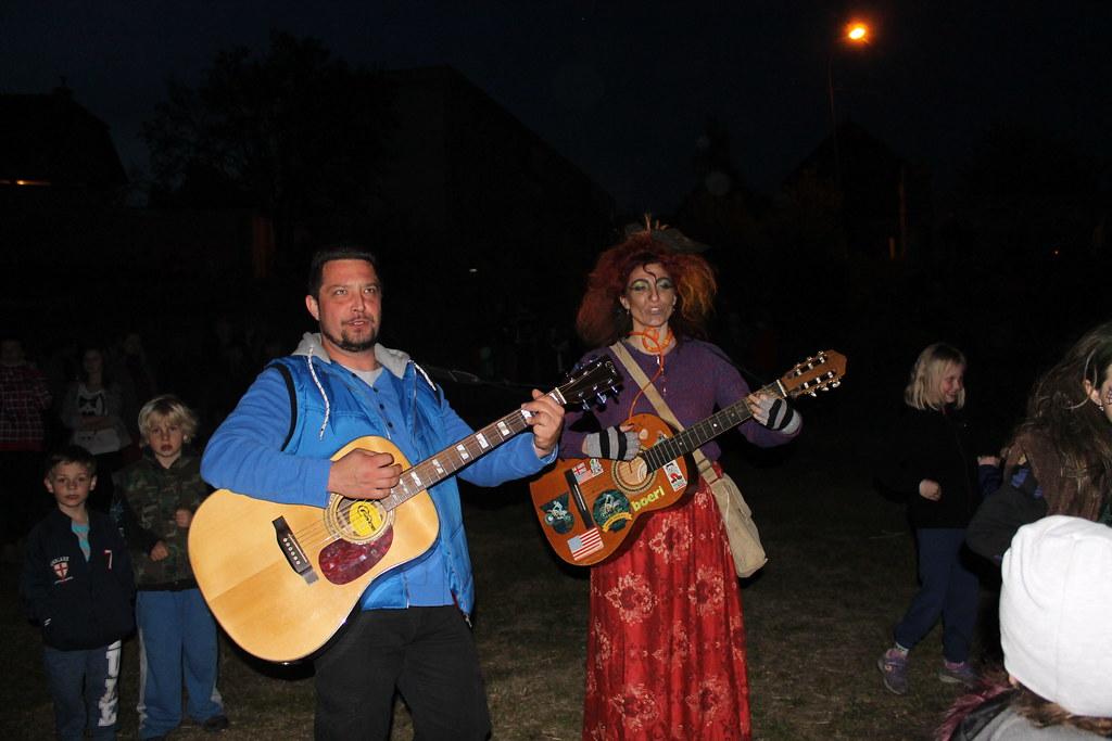 Singing some popular folk songs during Čarodějnice (Walpurgis)