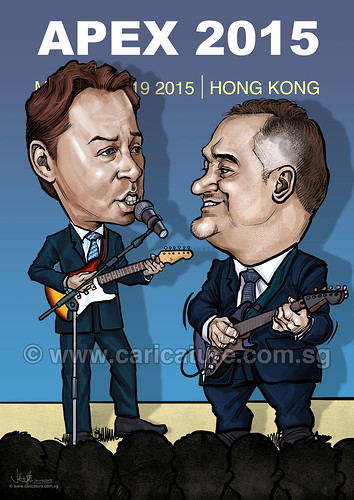 digital couple caricatures playing electric guitars APEX 2015 for Johnson & Johnson (watermarked)