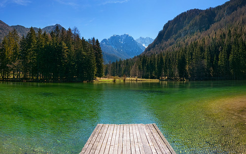 blue sky lake nature colors clouds landscape for pier colorful day place relaxing sunny tourist clear slovenia slovenija relaxation jezersko attraction jezero vibrants planšarsko