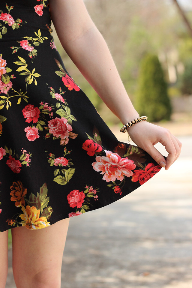 Spiked Bracelet with a Rose Print Dress