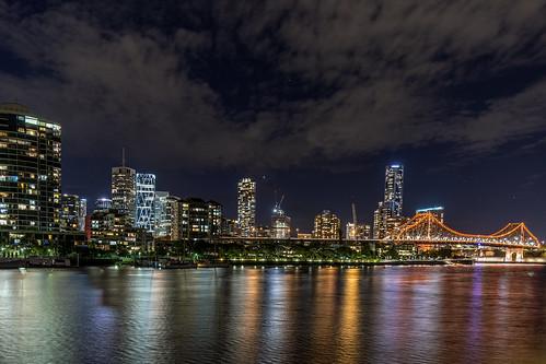 city bridge sky water skyline night brisbane brisbaneriver waterreflections