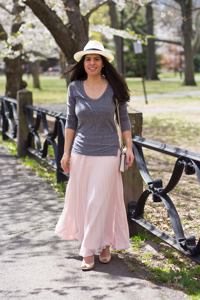 pleated maxi skirt, grey tee, panama hat-10.jpg