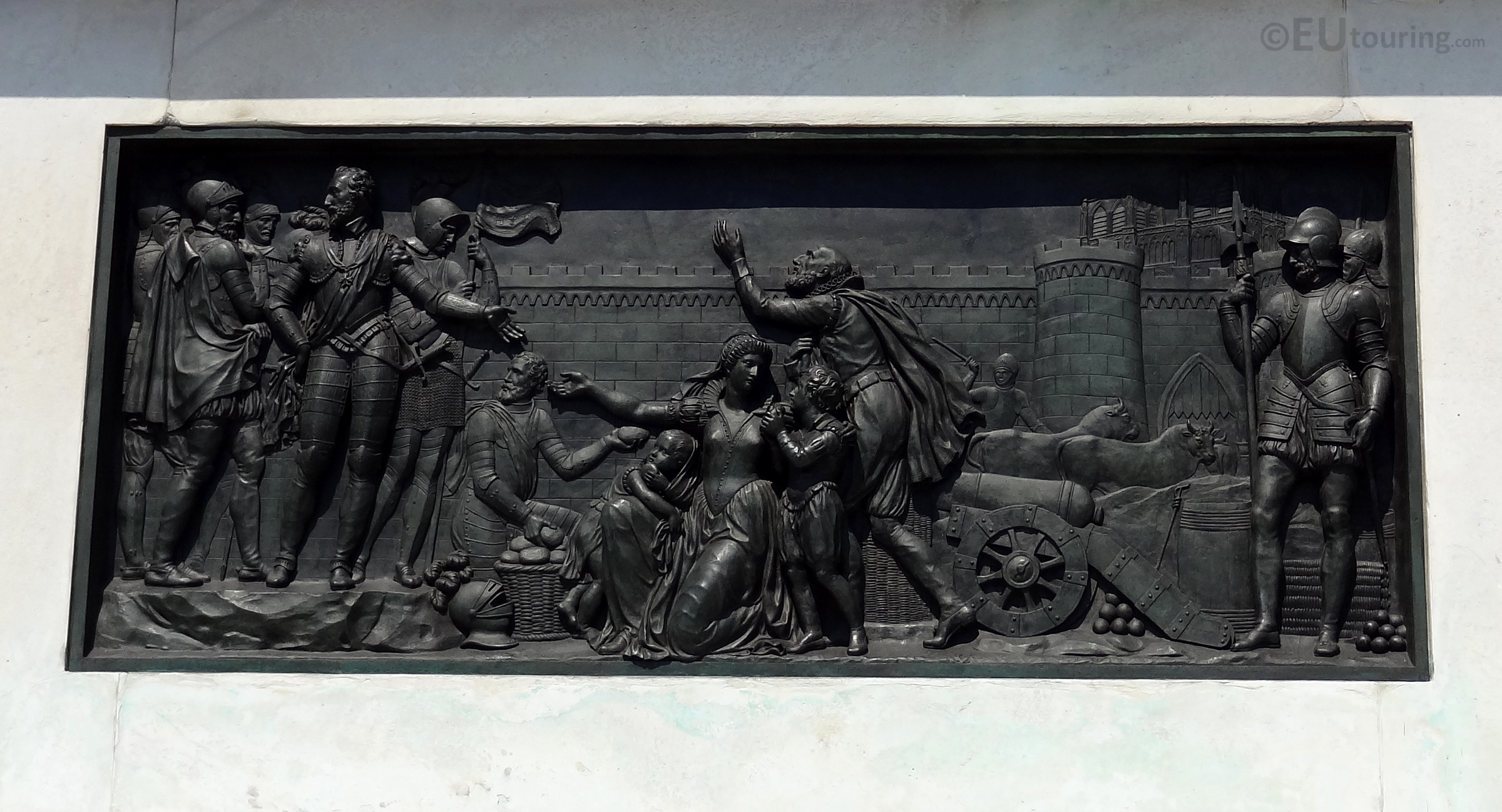 Bas relief on the base