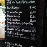 Burgerkarte mit Preisen in der Substanz