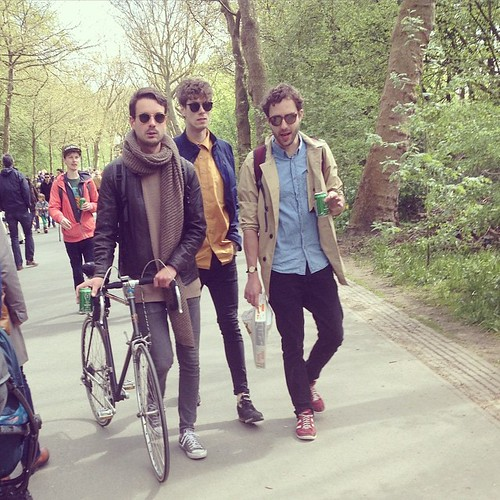 Hipsters celebrate it too! #hipster #amsterdam #kingsday #koningsdag #qday #holland #orange #racebike #cyclechic