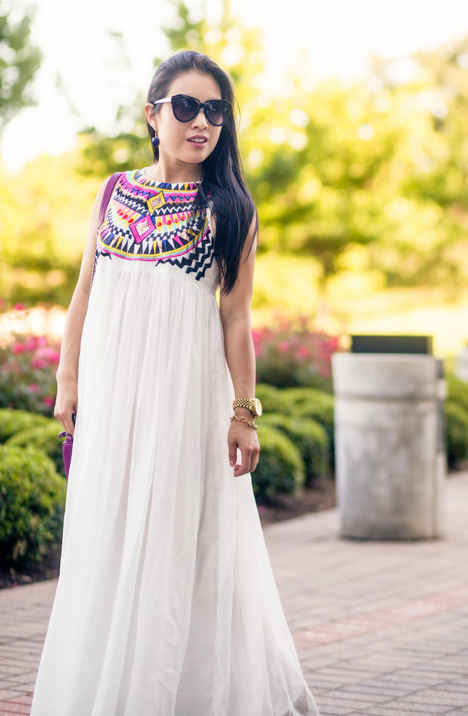 cute & little blog | petite fashion | sheinside white embroidered pleated chiffon maxi dress, studded gladiator sandals, rebecca minkoff mac clutch | spring summer outfit