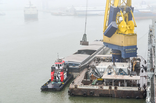 Floating crane unloading our cargo in the mist of the port of Rotterdam