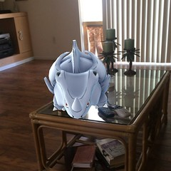 Either I need more coffee! Or that's a Rhyhorn on our coffee table