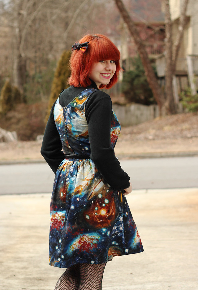 Galaxy Print Dress and Hair Bow Paired Together
