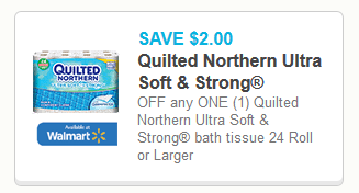Coupon $2/1 Quilted Northern ultra soft & Strong toilet paper