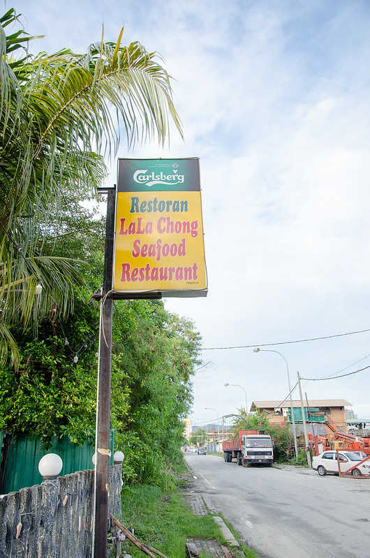 Lala Chong Seafood Restaurant signboard along the road