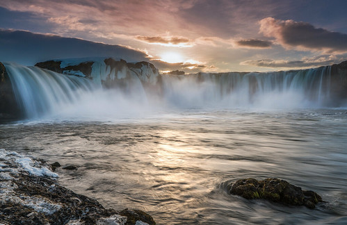 sunset water river landscape waterfall iceland godafoss