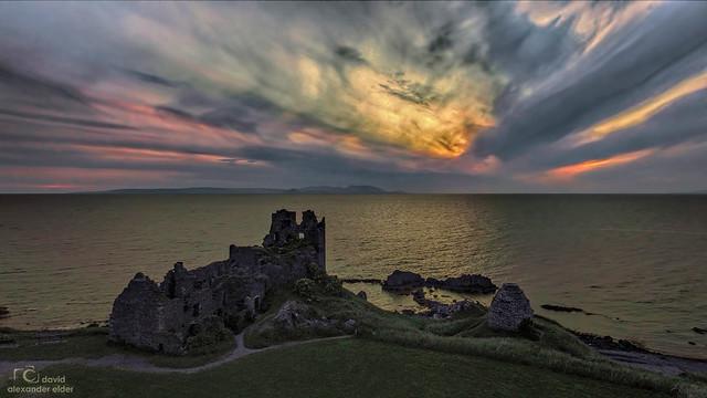 Sunset blast over Dunure Castle