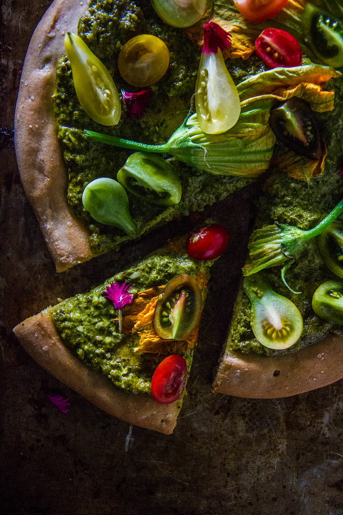 Squash Blossom and herb Pesto pizza
