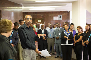 Chair Person, Eastern and Southern Africa staff association, Awoke Moges speaks to staff as UNICEF Ethiopia mourns colleagues who tragically lost their lives in Somalia and Ethiopians killed in Libya and South Africa