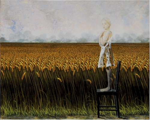 Luna y tulipanes, 2012 Técnica mixta sobre tela, 185 x 380 cm Colección del artista