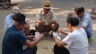 Old men in a park in Hanoi