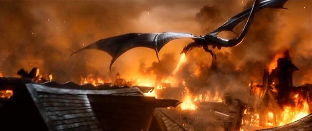 Smaug The Dragon Attacking Lake Town The Hobbit The