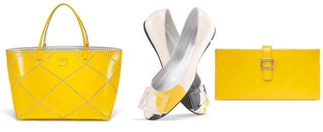 Roger Vivier, bolso, bailarinas y cartera amarillo