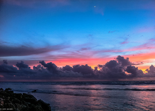 ocean morning travel light moon reflection nature clouds sunrise island dawn pacific south crescent nauru
