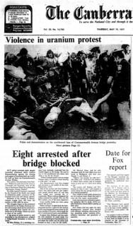 Anti- uranium protest arrests - Canberra Times 19770519 p1