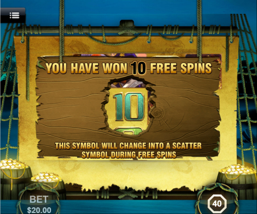 free Captain's Treasure Mobile free spins feature