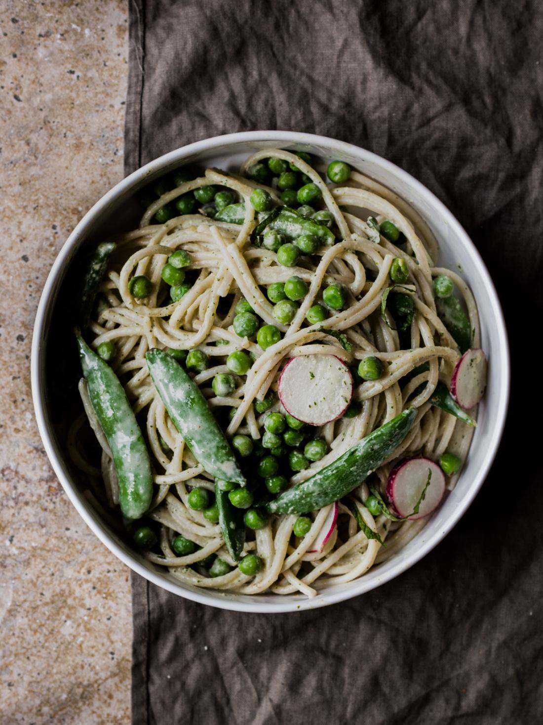 Spring Pea Spaghetti with Herbed Tahini Sauce