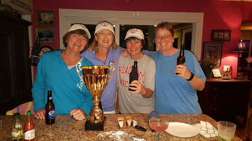 Sheila, Fran, Alicia and Carol - the newly crowned (cupped?) Women's 40+ Hockey Champions!