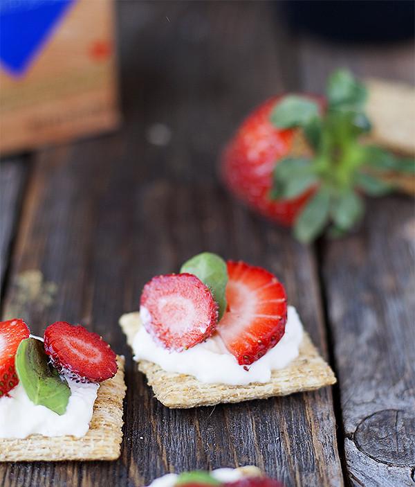 strawberry burrata and basil caprese topper