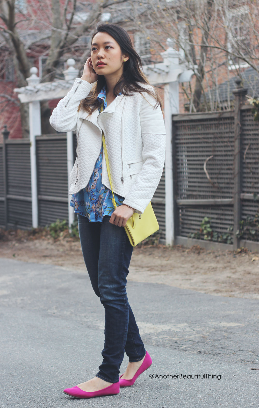 Magenta pointed flats and white faux leather jacket