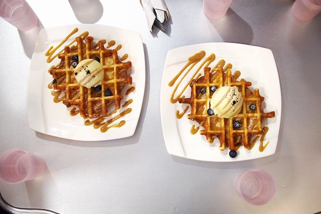 waffles with pandan ice-cream. Hatter Street Bakehouse & Café, 212 Hougang Street 21, Kovan