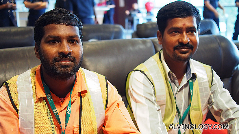 Muthukumar and Shanmuganathan at the post-ceremony interview yesterday.