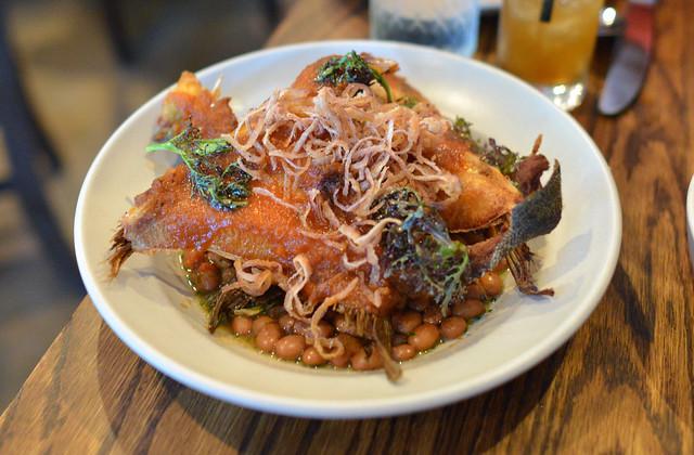 hamachi collar, heirloom beans, chipotle maple, collard greens, crispy red onion