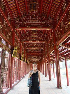 Caroline in a long roofed walkway