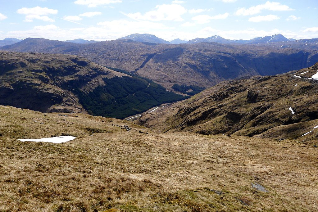 Descending grassy slopes to Glen Fyne