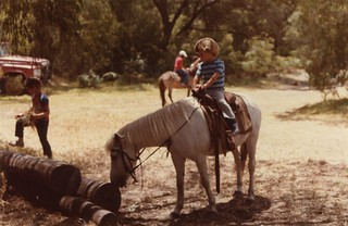 Sam riding 'Lady', January 1985