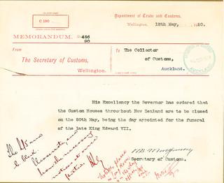Telegram Regarding funeral of King Edward VII (1910)