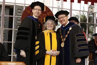 USC Provost Michael Quick, Honorary Degree Recipient Ada Yonath, USC President C. L. Max Nikias