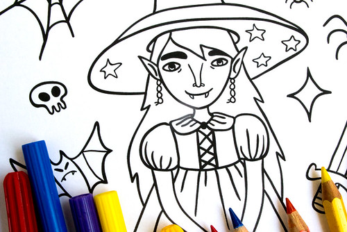 My Little Witch Coloring Page
