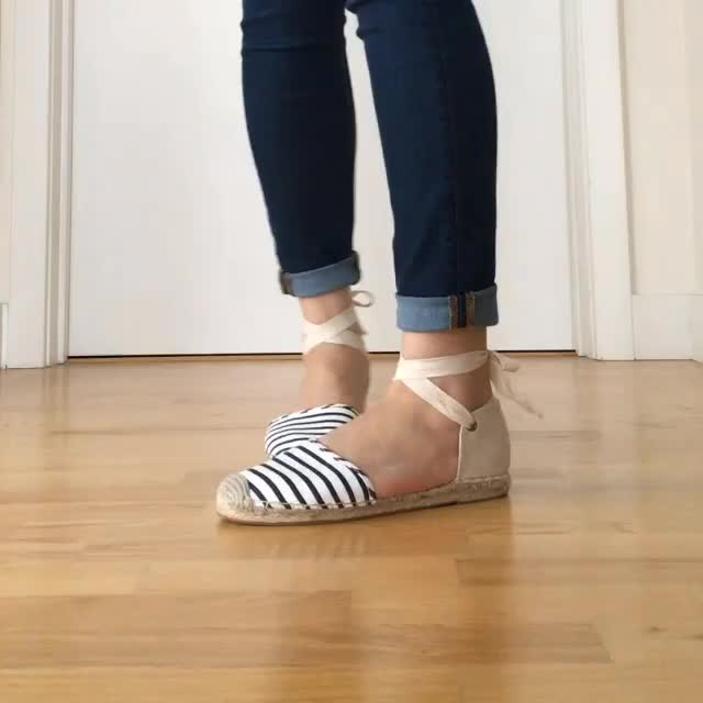 LOFT Striped Ankle Tie Espadrilles