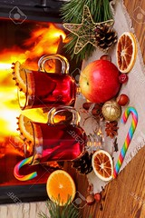 Christmas mulled wine - two glasses on the backgro…