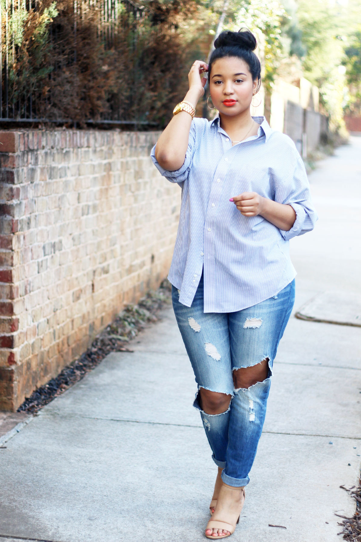 Ripped Boyfriend Jeans & Striped Button Up