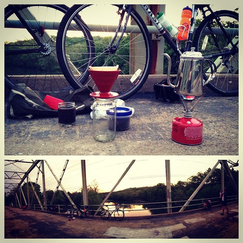 Springfield Sunrise Coffee  & Bicycle Club ride to Galloway Greenway iron bridge.