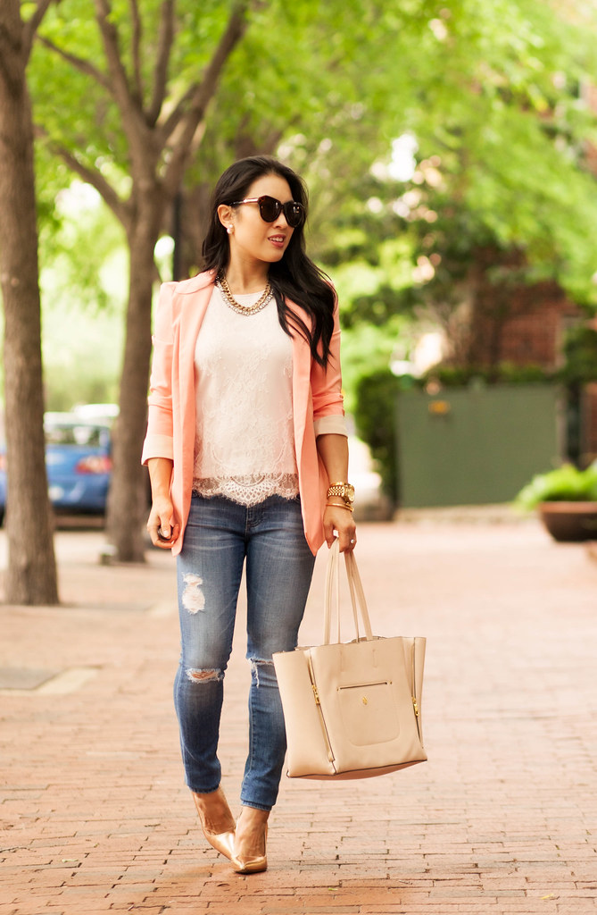 c327aea274 Peach Blazer + Lace Shell    Style Unscripted Giveaway! - cute ...