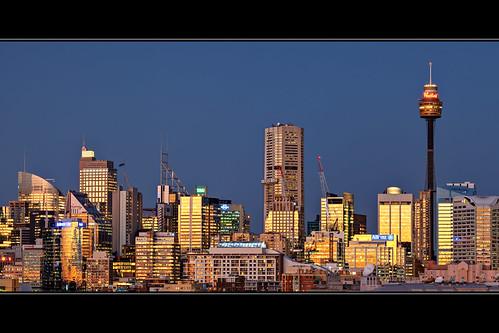 city skyline buildings twilight skyscrapers dusk sydney australia nsw newsouthwales bluehour glebe