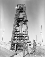 Atlas Missile on Pad------- DUPE NEGATIVE , U.S. AIR FORCE PHOTO, OL1-1352 MPS - APCS (MATS), 998 '59 OL-1-1352 MPS UNCL , UNCLASSIFIED ; , film: 998-59-1-1352-Unclassified