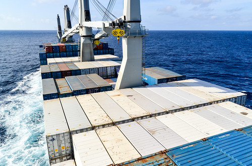 Containers sailing in the Atlantic ocean