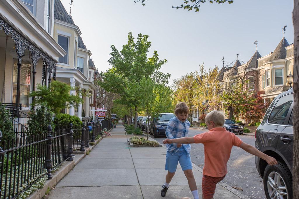 Sidewalk soccer and row houses