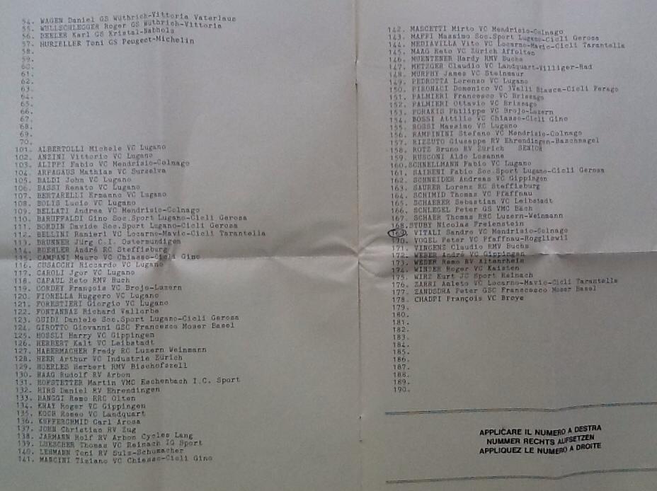 Lista partenza ufficiale del Campionato Ticinese 1985 parte 2